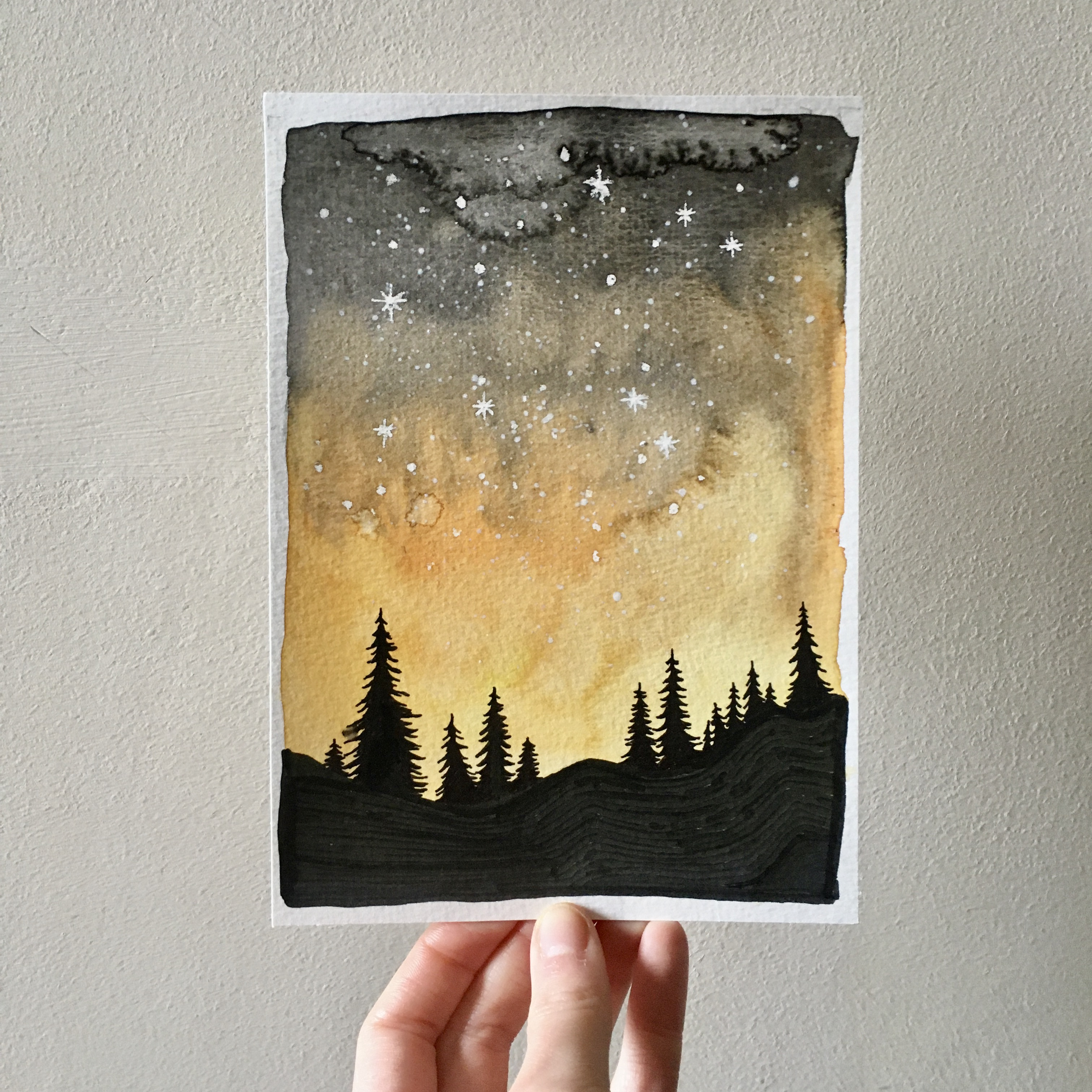 Yellow Starry Sky over the Forest.