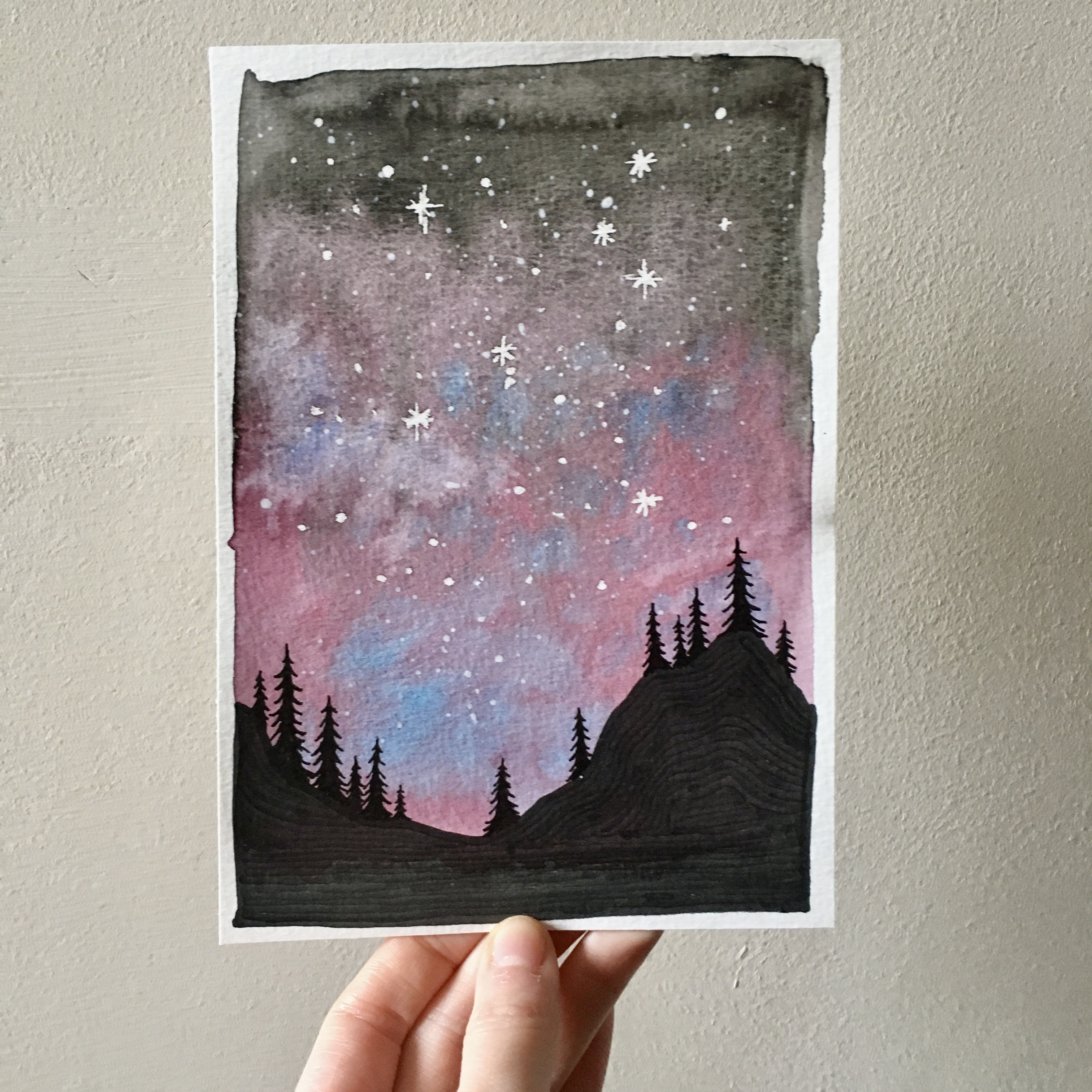Purple Starry Sky over the Forest.