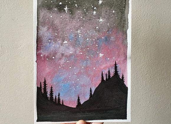Ilustraciones originales en acuarela y tinta - Noche mágica sobre el bosque