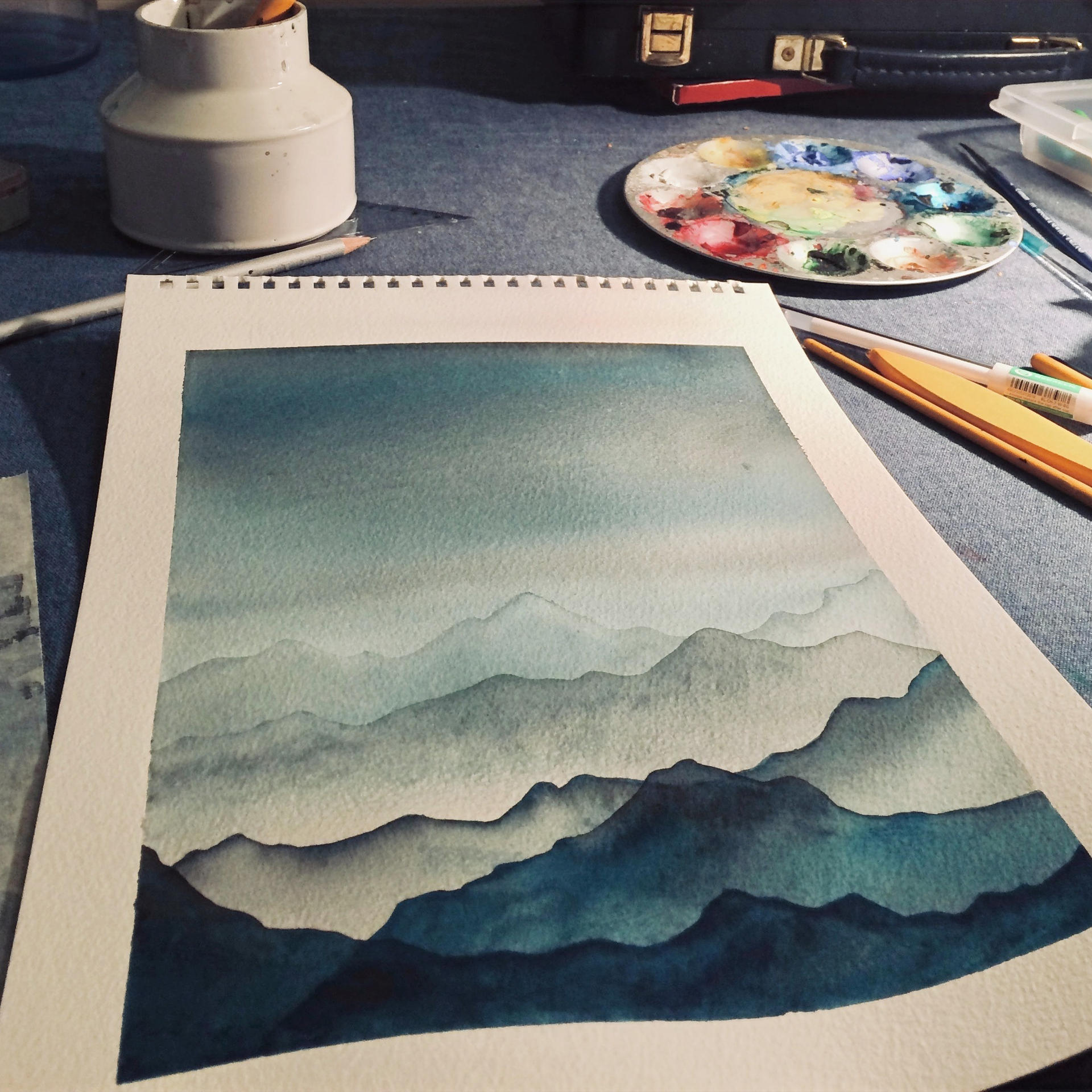 Blue mountains in process