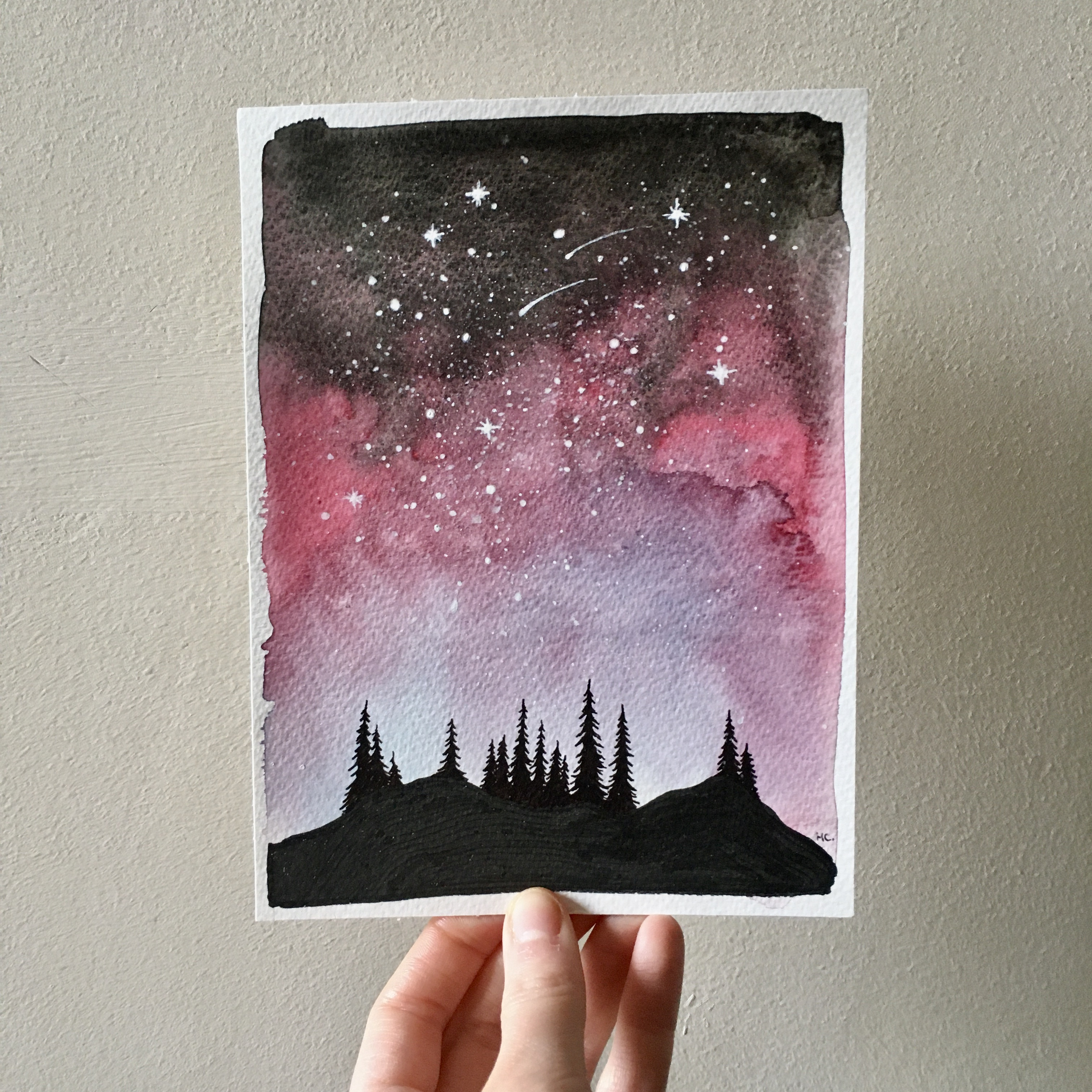 Pink Starry Sky over the Forest.