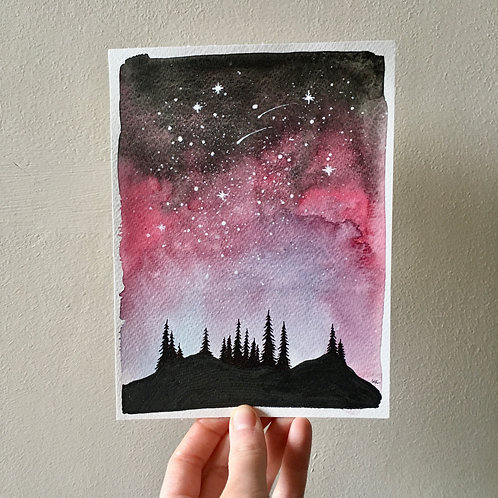 Original Watercolour and Ink illustrations - Magical night over the Forest