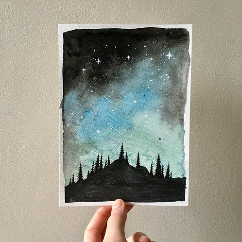 Original Watercolour and Ink illustrations - Magical night over the Fore