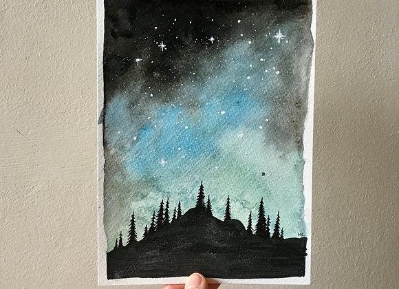 Ilustraciones originales con acuarela y tinta - Noche mágica sobre el bosque