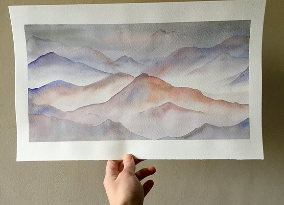 Acuarela original - Montañas cálidas