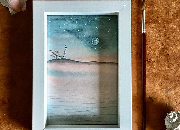 Luna temprana - Acuarela original enmarcada