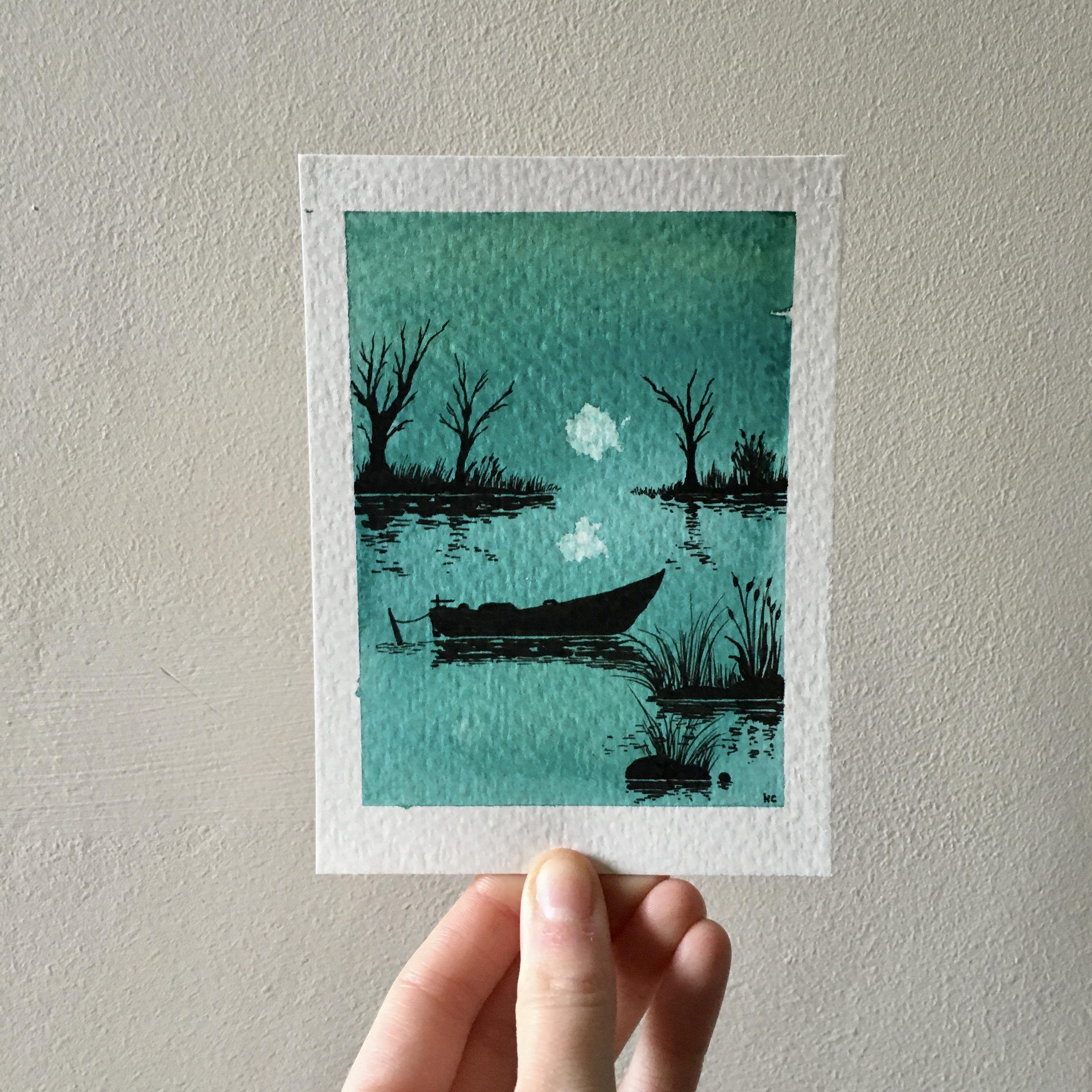 Peaceful moon over the lake
