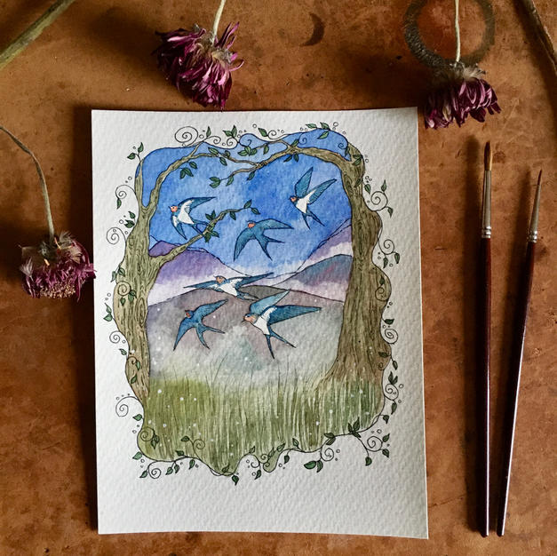 Swallows (April- 2021 Calendar)
