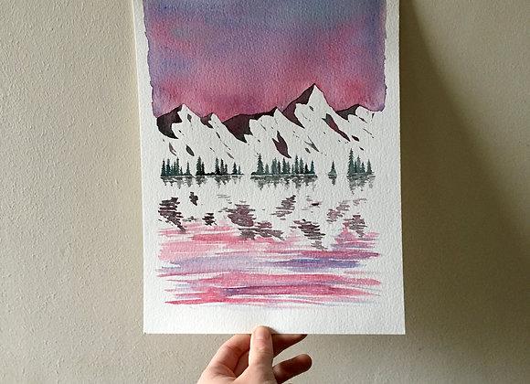 Acuarela original - Montañas de invierno