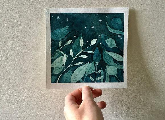Acuarela original - Noche sobre las hojas