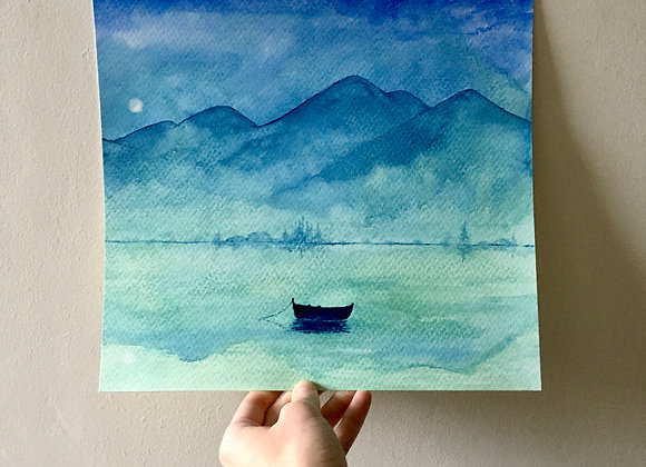 Acuarela original - Luna sobre el lago