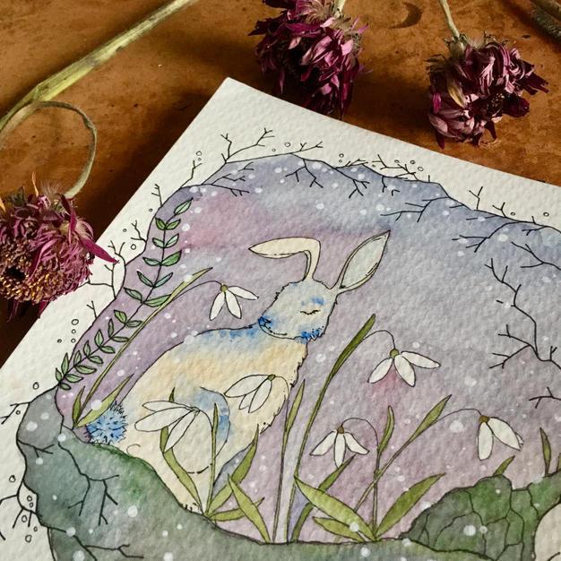 Hare and Snowdrops (February - Calendar 2021)