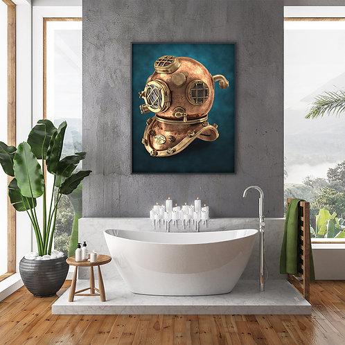 antique diving helmet poster in bathroom by David Richard.