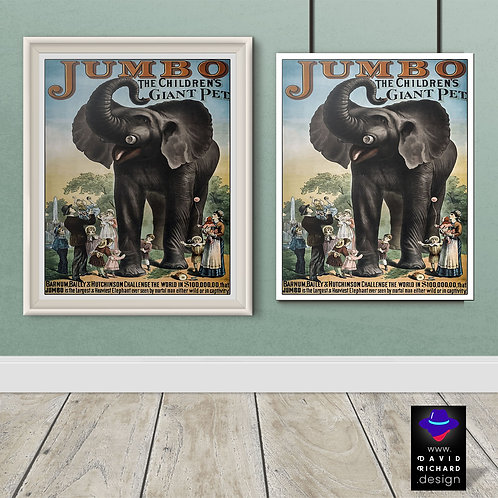 vintage circus advertisement poster by David Richard designs