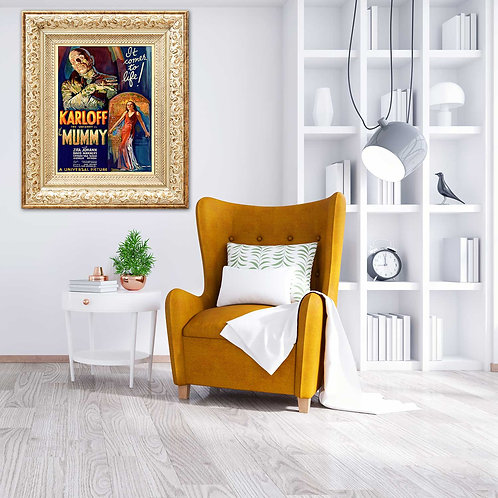 framed vintage mummy poster by David Richard designs.