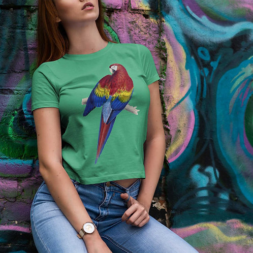 "cute girl wearing ""scarlet macaw"" t-shirt by David Richard."