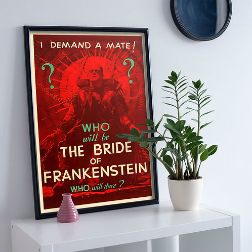 framed vintage horror movie poster by David Richard designs.