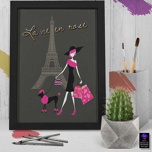 """framed """"life in pink"""" poster by David Richard designs."""