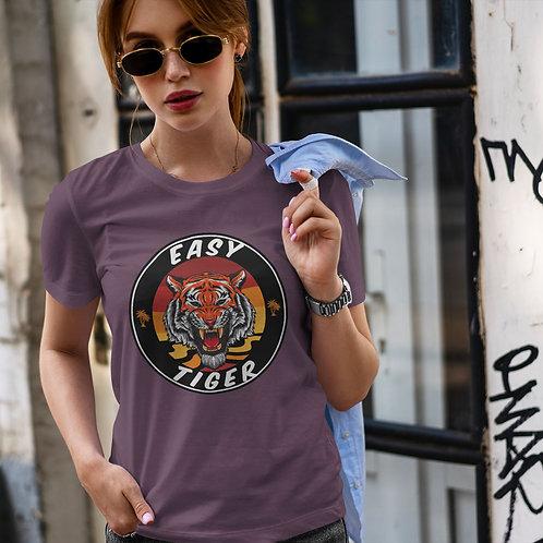 "cute girl wearing ""easy tiger"" t-shirt by David Richard."
