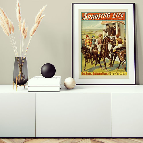 framed vintage horse racing poster by David Richard designs.