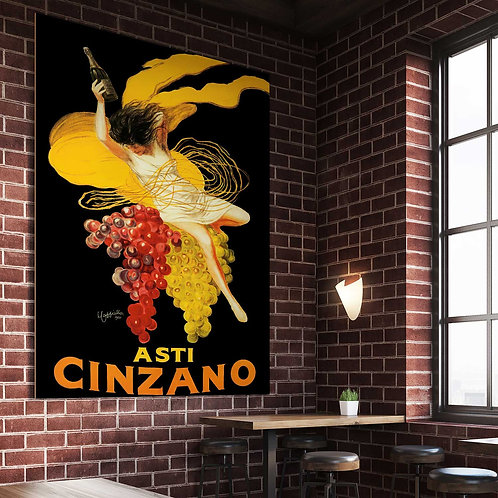 framed vintage asti cinzano poster by David Richard designs.