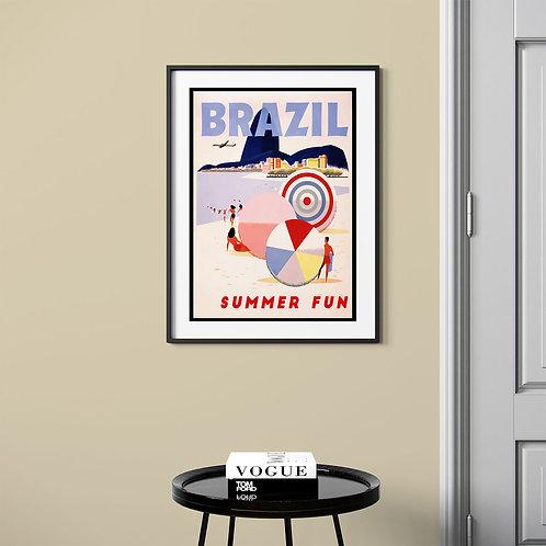 framed vintage Brazil beach poster by David Richard designs.