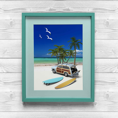 framed beach and surf boards poster by David Richard.