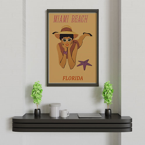framed vintage Miami beach poster by David Richard designs.