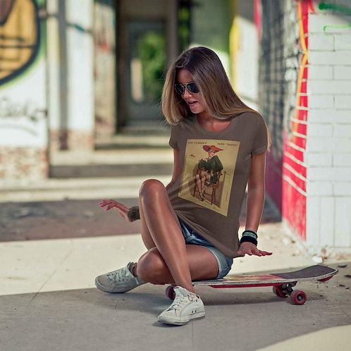 """cute girl wearing """"pinup girl"""" t-shirt by David Richard."""