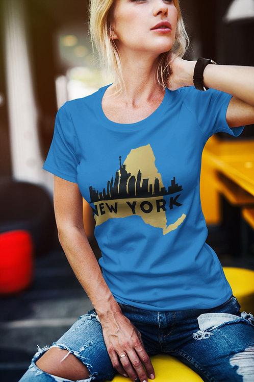 blonde wearing New York T-Shirt