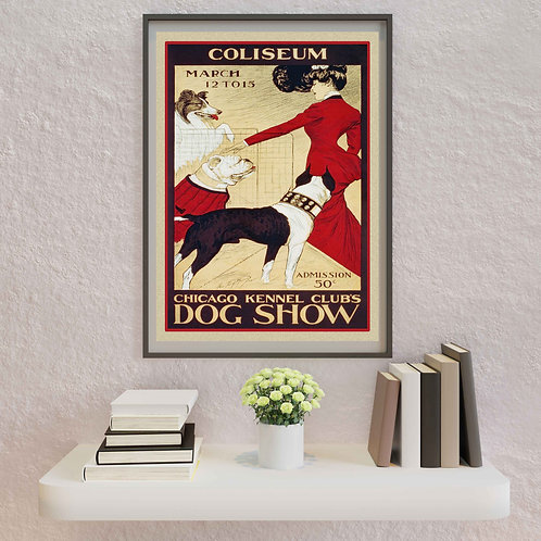 framed vintage dog show poster by David Richard designs.