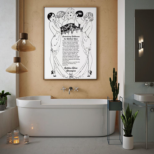 framed Vintage 1927 Shampoo Advertisement Poster by David Richard designs.