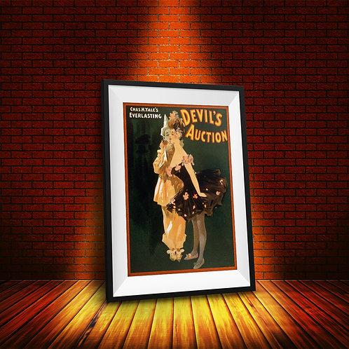 framed vintage devil's auction poster by David Richard designs.