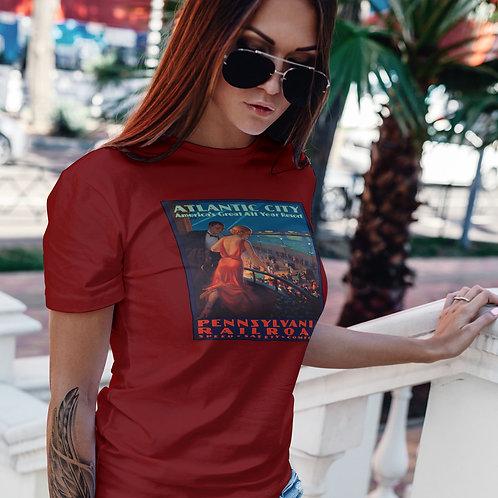 "cute girl wearing ""Atlantic City boardwalk"" t-shirt by David Richard."