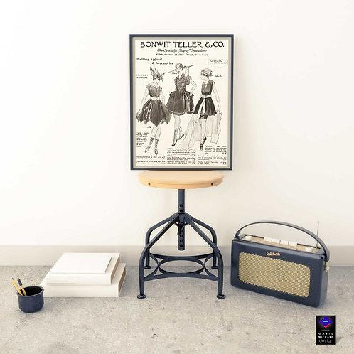 framed vintage fashion ad poster by David Richard designs.