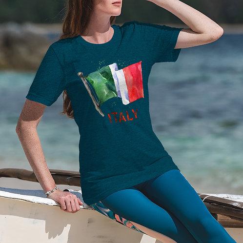 cute model wearing Italian flag t-shirt by David Richard
