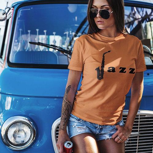 cute girl wearing jazz t-shirt by David Richard.