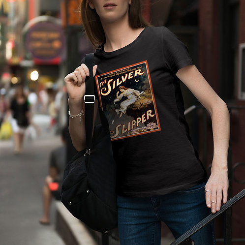 "cute girl wearing ""silver slipper"" t-shirt by David Richard."