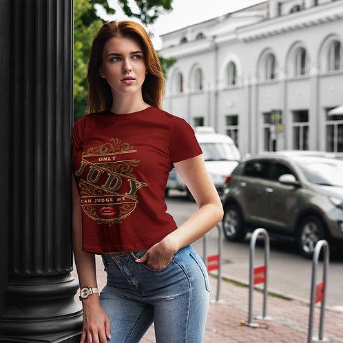 "cute girl wearing ""only Judy can judge me"" t-shirt by David Richard."