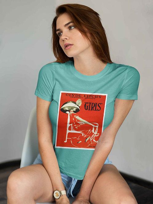"""cute red head wearing """"girls"""" t-shirt by David Richard."""
