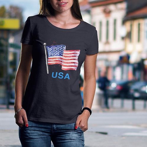 young girl wearing American flag tee by David Richard.