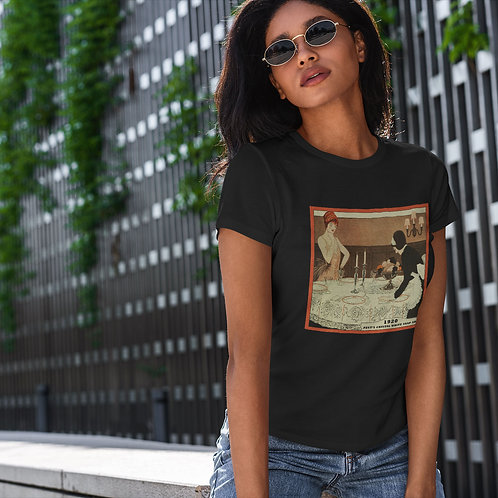 "cute girl wearing ""soap ad"" t-shirt by David Richard."