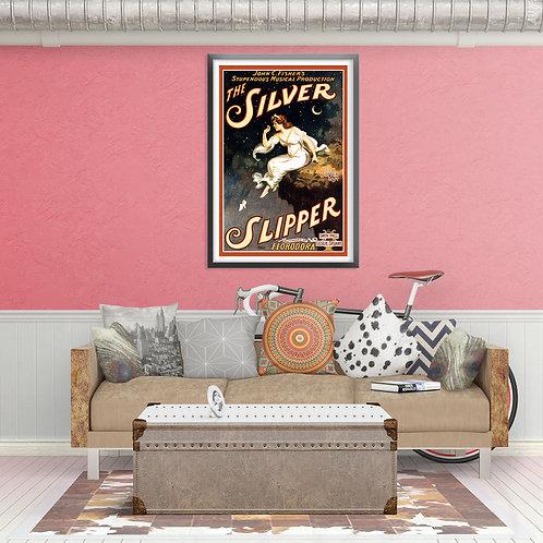 framed vintage silver slipper poster by David Richard designs.