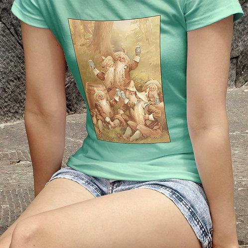 "cute girl wearing ""beer ad"" t-shirt by David Richard."