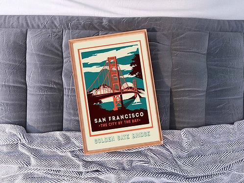 framed vintage San Fran travel poster by David Richard designs.