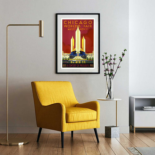 vintage 1933 Chicago World's Fair poster by David Richard designs