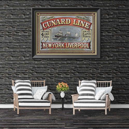 framed vintage cunard line poster by David Richard designs.