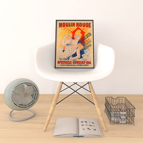 framed vintage Burlesque CanCan Dancer poster by David Richard designs.