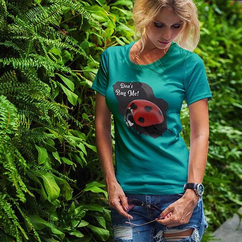"cute blonde wearing ""don't bug me"" t-shirt by David Richard."