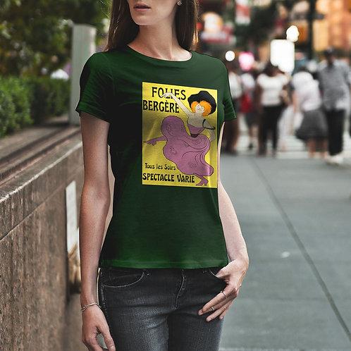 "cute girl wearing ""cancan dancer"" t-shirt by David Richard."